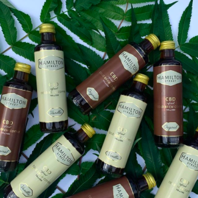 bottles of CBD coffee from a university-founded business