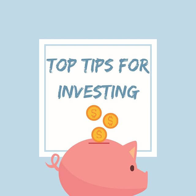 Graphic shows top tips for investing and a piggy bank