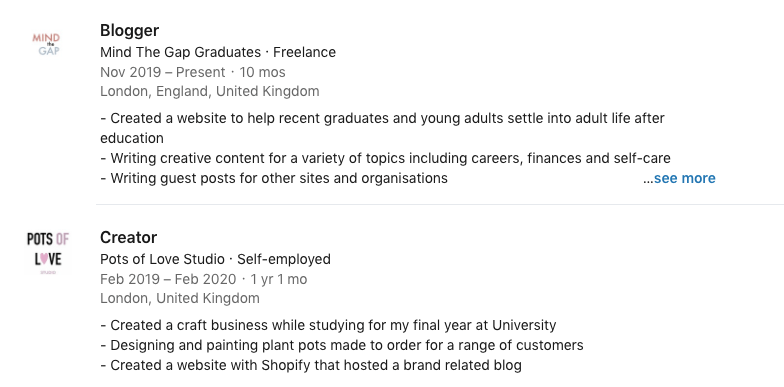 Maddie Astle LinkedIn | Image shows a screenshot of a LinkedIn profile with work experience listings